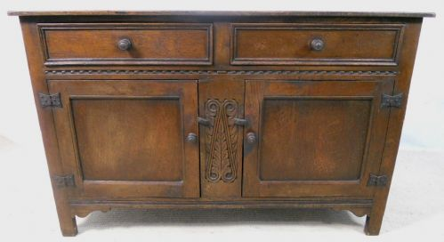 Antique Jacobean Style Oak Dresser Base Sideboard - SOLD
